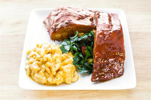 BBQ Ribs, Baked Mac & Cheese, Sautéed Greens