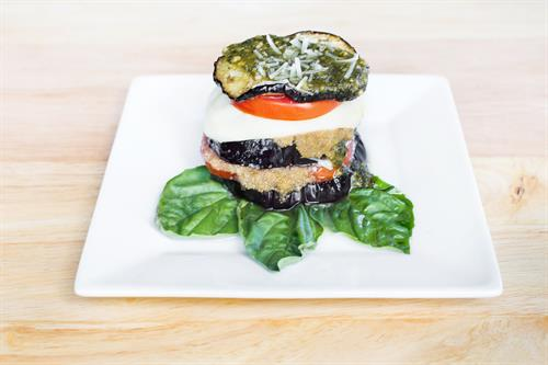 Amaranth, Roasted Tomato, and Eggplant Stacks with Pesto