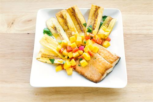Mani Mahi with Plantain Chips and Mango Salad