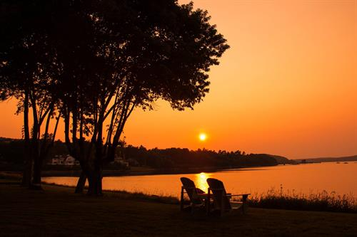 Sunset at Saltair Inn located in Bar Harbor, ME, near Acadia National Park