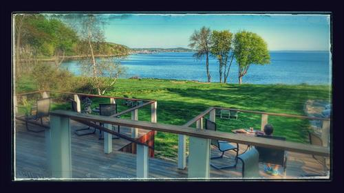 Breakfast on the rear deck at the Saltair Inn Waterfront B&B