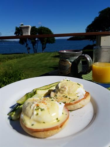 Eggs Benedict on the rear deck at the Saltair Inn in Bar Harbor, ME