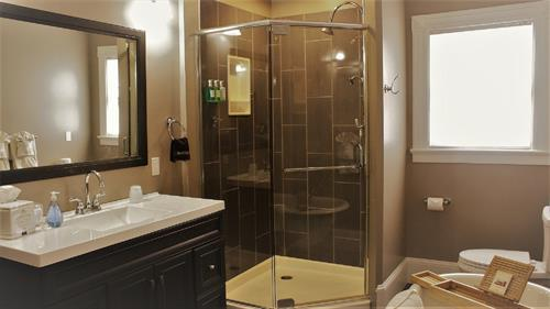 Newly renovated bathroom in the Acadia Suite at the Saltair Inn in Bar Harbor, ME