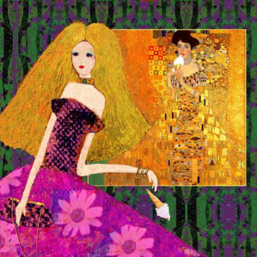 """Homage to Klimt"" original multi media montage on canvas part of the D'Alessio Klimted series"