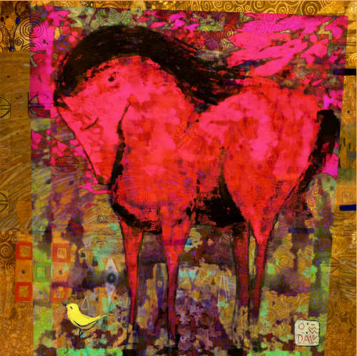 """""""Red Horse with Yellow Bird""""  original multi media montage on canvas"""