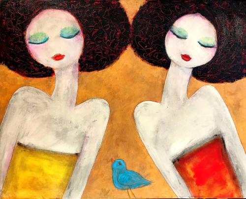 """Visit with Blue Bird"" original acrylic on canvas"