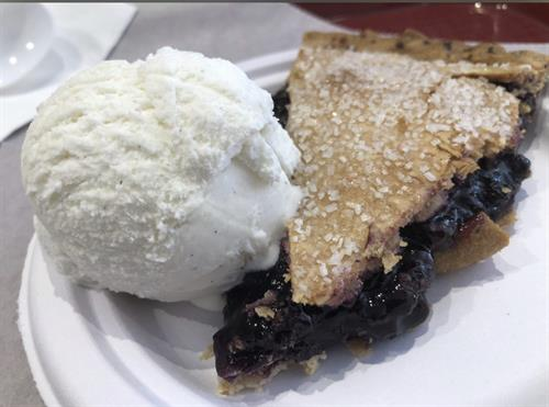 A slice of our house made blueberry pie