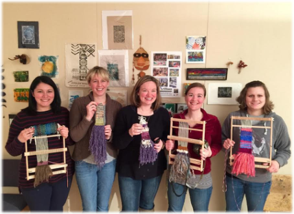 Weaving Happily at an ArtWaves workshop!