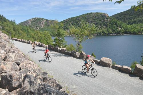 The carriage road ride on the western side of Jordan Pond provides spectacular views.