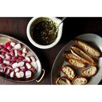 MUUV: Roasted Radishes with Almond Salsa Verde