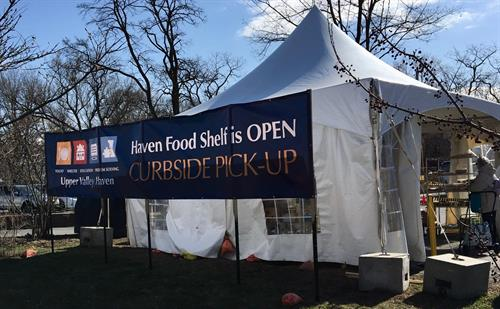 Due to COVID-19 the Food Shelf operates outdoors, spring 2020.