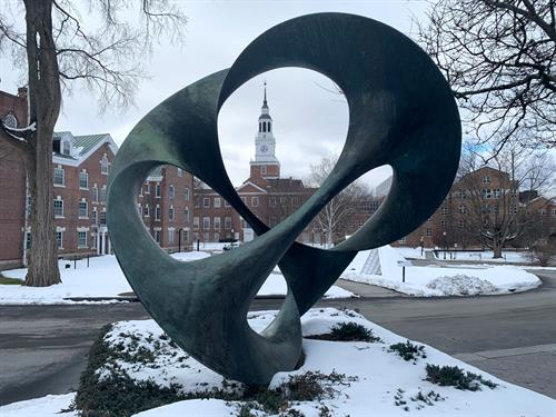 Charles O. Perry's D2D with Baker Tower and Beverly Pepper's Thel in the background. Photo by Alison Palizzolo.