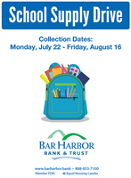 Bar Harbor Bank & Trust first annual School Supply Drive begins July 22