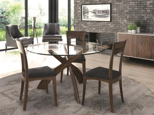 Entwine Dining in solid Walnut with Glass