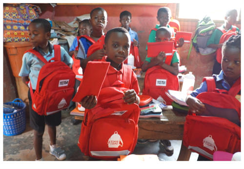 Children in Ghana with their SchoolBags