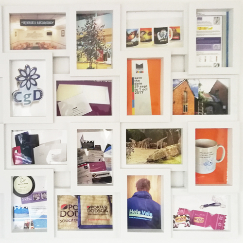 A selection of branded promotional items