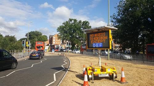 VMS - Variable Message Sign - Informing motorists of traffic and road closures.