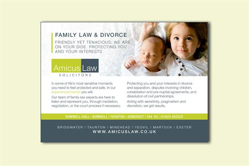 Advert design for Amicus Law Solicitors