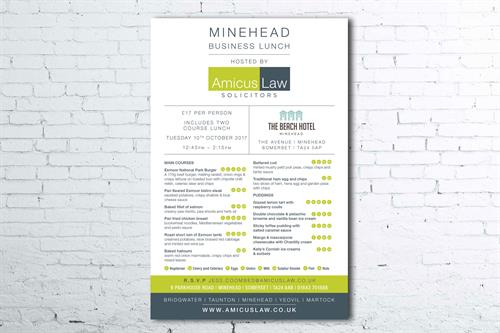 Flyer design design for Amicus Law Solicitors Networking Launch