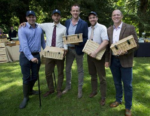 Wing for Life Charity Clay Day Winners (including Mike Tindall) with Hamper Guys produced hampers