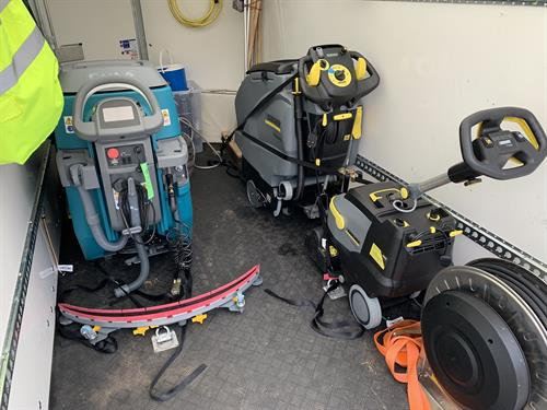 Some of the scrubber dryers loaded up ready for the next job.