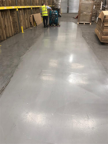 Warehouse in Yeovil, floor clean.