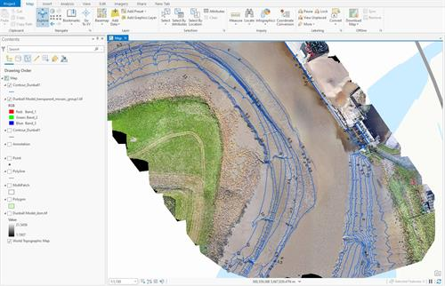 Using GIS to produce topographic survey of hard to reach areas