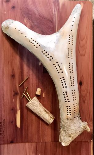 Moose antler cribbage board