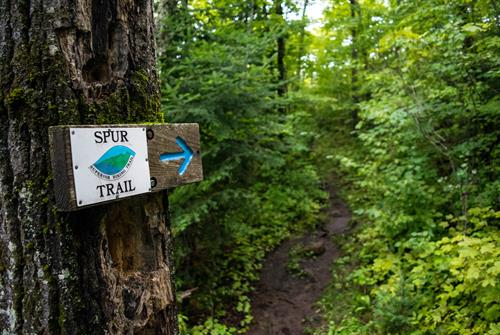 "The Superior Hiking Trail is well-marked with signs and blue and white ""blazes"" to help you navigate through the woods."