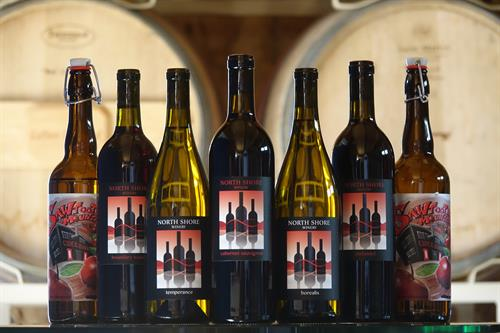 Enjoy our wines & ciders in the tasting room or pick some up at the Two Harbors Muni!