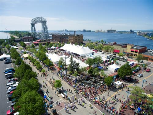 Finish line area in Canal Park