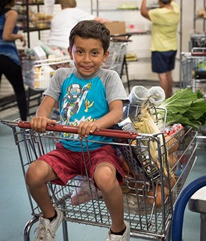 In our program Feeding Families, families with children can fill a whole grocery cart with fresh produce and other items free of charge.