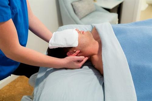 Experience our complimentary, soothing, cold eye/sinus pillow when it's time to turn on to your back!