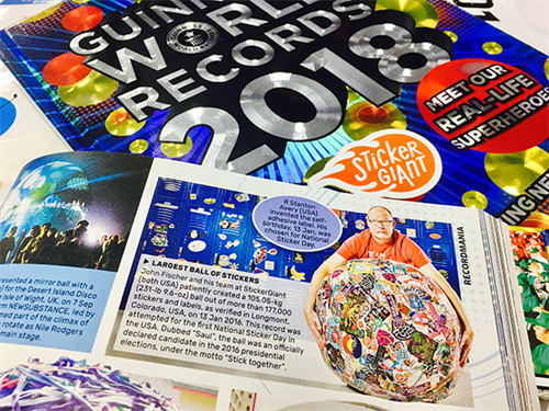 StickerGiant registered the first ever National Sticker Day on January 13th, 2016 and also set the Guinness World Record for the Largest Ball of Stickers, known as Saul the Largest Sticker Ball, weighing in at 231.6 pounds.