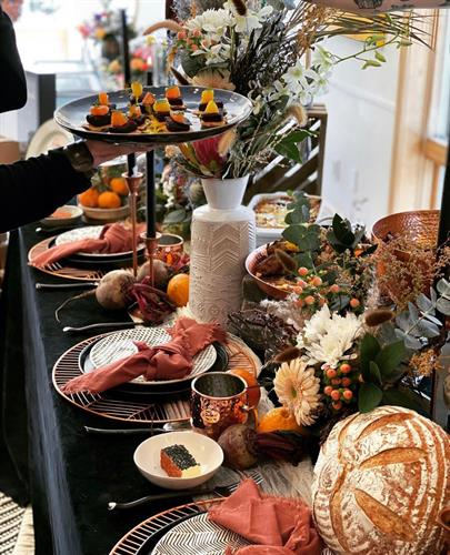 Beautiful table settings with delicious food