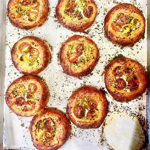 Savory brioche tarts- herbed goat cheese and heirloom tomatoes