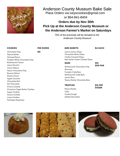 November 2019 Bake Sale Menu