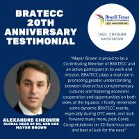 BRATECC 20th Anniversary Testimonial | Alexandre Chequer, Mayor Brown