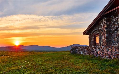 Photo by Tim Shaw; Beech Hill Summit Hut at sunset