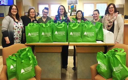 Brewer location staff packed care bags for the Bangor Area Homeless Shelter.