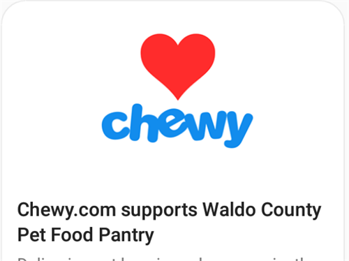 Chewy.com supports Waldo County Pet Food Pantry