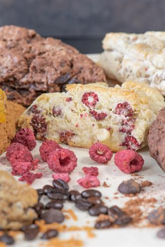 Raspberries & Cream- Fresh Scones and Premium Mix. GF available