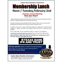 2021 Quarterly Luncheon - Sponsored By Texas Bank and Trust