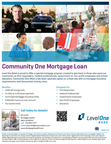 Community Mortgage Loan for Teachers, Fire, Police, First responders, Medical, and Non-profit employees.