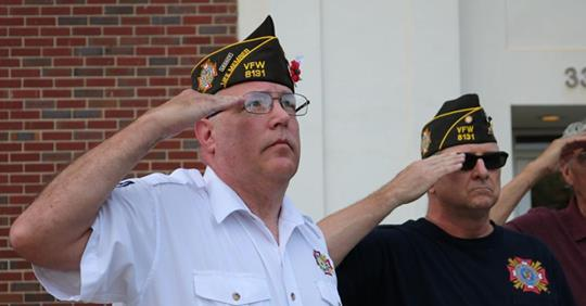 (June 12, 2018) Adjutant John Penman (l) and Commander Sudik render honors during Flag Day Ceremony at the Greenwood War Memorial.  The ceremony was sponsored by the Knights of Columbus.
