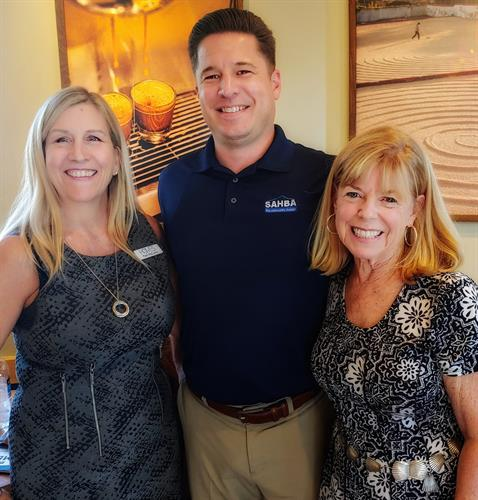 Pam McCurry and Kathy Martinez with David Godlewski, SAHBA president