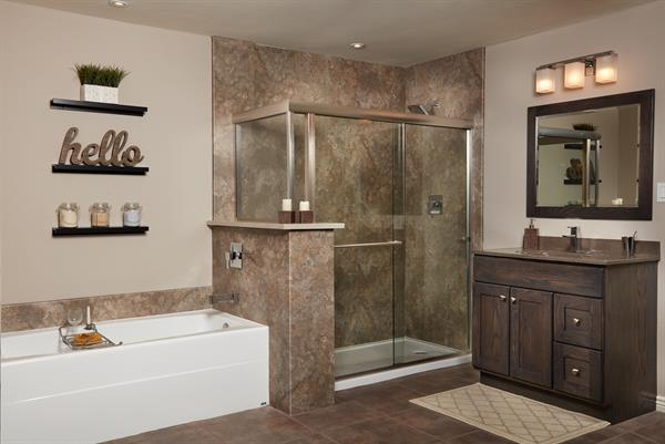 Side by Side Tub/Shower Combo Surround - Desert Stone