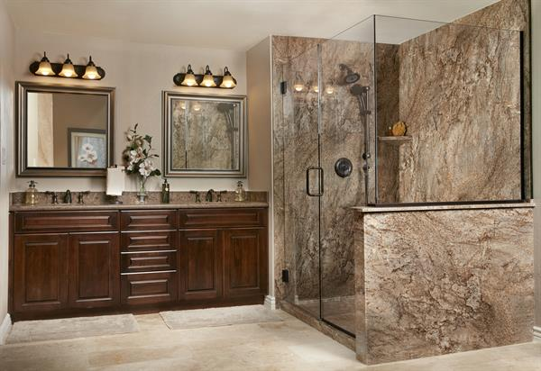 Large Walk-in Shower Surround - Tahoe Granite