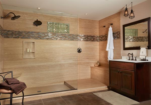 Large Walk-in Shower Natural Stone - Walnut Vein