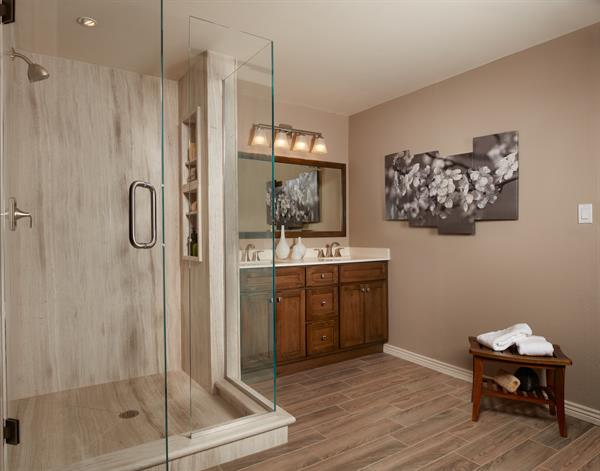 Walk-in Shower Surround Natural Stone - Teakwood